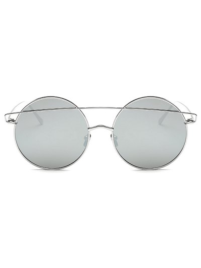 Metallic Crossbar Round Mirrored Sunglasses - SILVER  Mobile