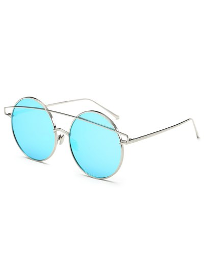 Metallic Crossbar Round Mirrored Sunglasses - ICE BLUE  Mobile