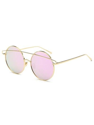 Metallic Crossbar Round Mirrored Sunglasses - LIGHT PURPLE  Mobile