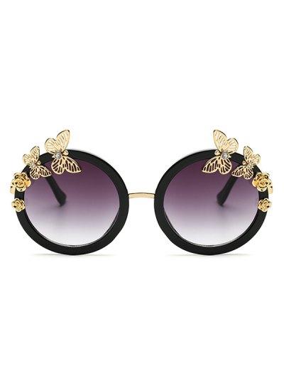 Rhinestone Butterfly Oval Sunglasses - BLACK  Mobile
