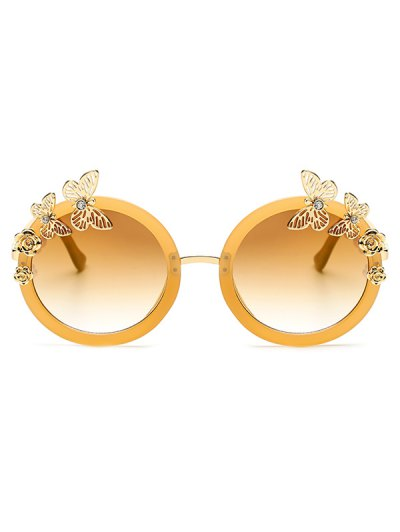 Butterfly Oval Mirrored Sunglasses - GOLDEN  Mobile