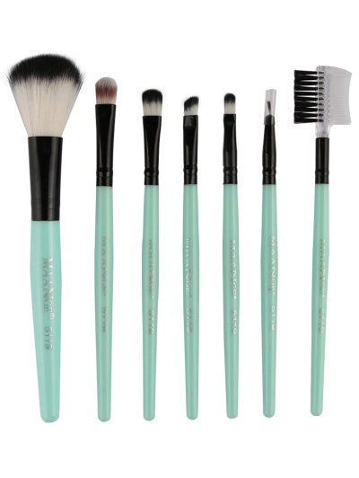 Fiber Makeup Brushes Set - GREEN  Mobile