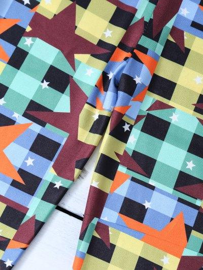 Checked Pentagram Patterned Leggings - COLORMIX L Mobile
