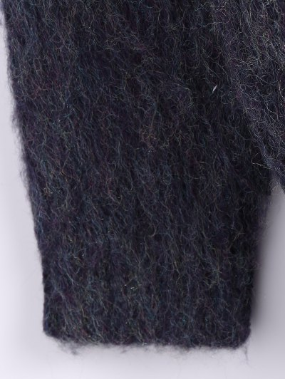 Funnel Neck Fluffy Sweater - PURPLISH BLUE ONE SIZE Mobile