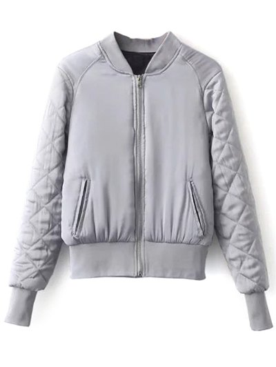 Stand Neck Quilted Jacket - GRAY L Mobile
