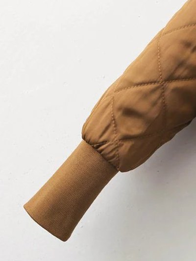 Stand Neck Quilted Jacket - GINGER L Mobile
