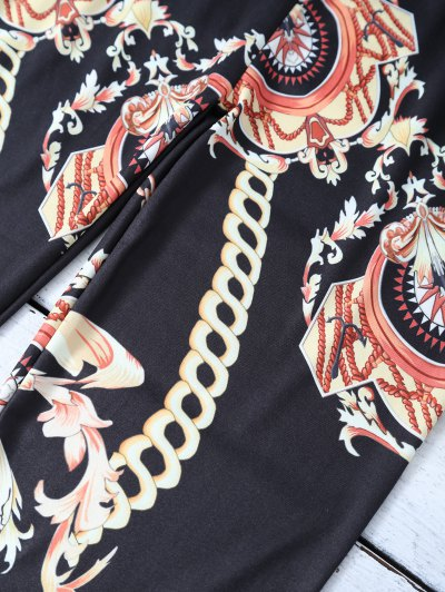Gold Chain Patterned Leggings - BLACK XL Mobile
