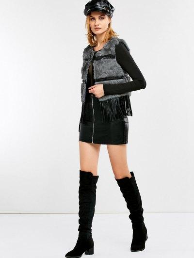 Fringe Rabbit Hair Waistcoat - GRAY ONE SIZE Mobile