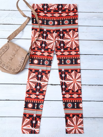 Snowflake Patterned Stretchy Leggings - JACINTH M Mobile