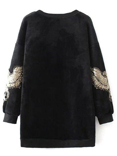 Embroidered Sequin Fluffy Sweatshirt - BLACK L Mobile