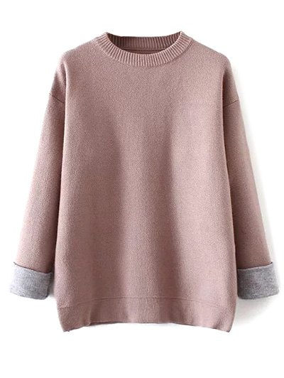 Crew Neck Drop Shoulder Sweater - PINK ONE SIZE Mobile