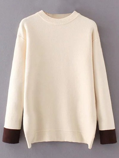 Crew Neck Drop Shoulder Sweater - OFF-WHITE ONE SIZE Mobile