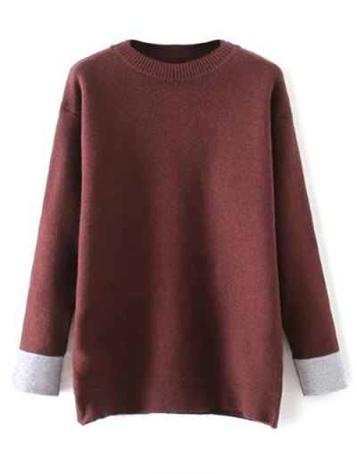 Crew Neck Drop Shoulder Sweater - DARK RED ONE SIZE Mobile