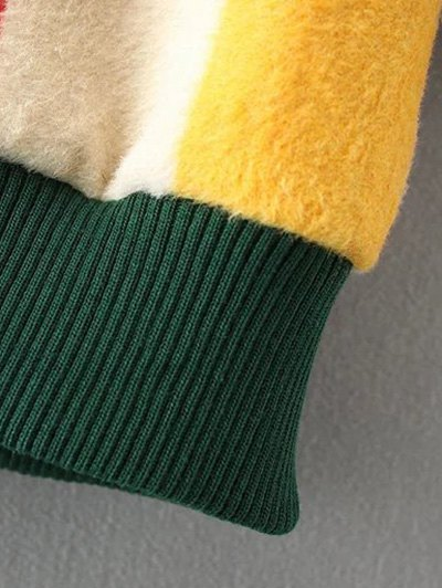 Mock Neck Striped Fluffy Sweater - GREEN M Mobile
