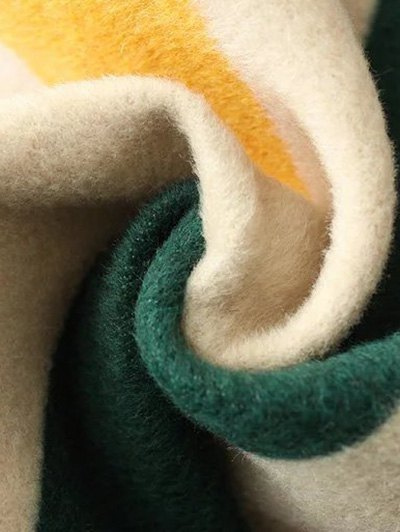 Mock Neck Striped Fluffy Sweater - KHAKI L Mobile