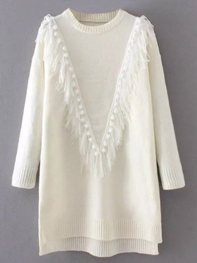 Tassel Round Neck High Low Jumper - WHITE ONE SIZE Mobile