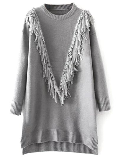 Tassel Round Neck High Low Jumper - GRAY ONE SIZE Mobile