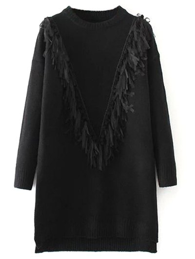 Tassel Round Neck High Low Jumper - BLACK ONE SIZE Mobile