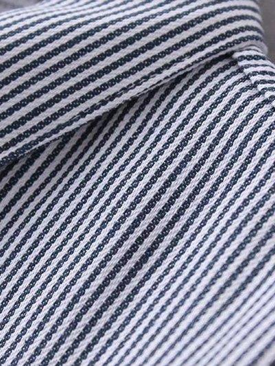 Striped Tied Sleeve Plus Size Shirt - WHITE 2XL Mobile
