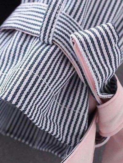 Striped Tied Sleeve Plus Size Shirt - WHITE XL Mobile