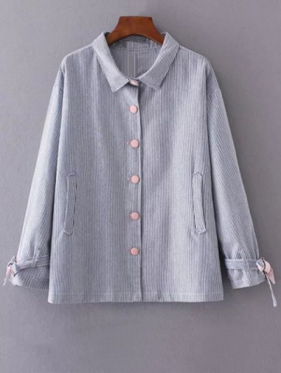 Striped Tied Sleeve Plus Size Shirt - BLUE 2XL Mobile