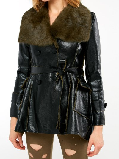 Faux Fur Collar Faux Leather Coat - BLACK AND GREEN L Mobile
