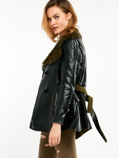 Faux Fur Collar Faux Leather Coat - BLACK AND GREEN M Mobile