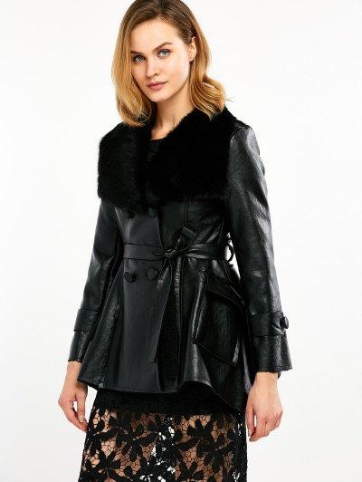 Faux Fur Collar Faux Leather Coat - BLACK L Mobile