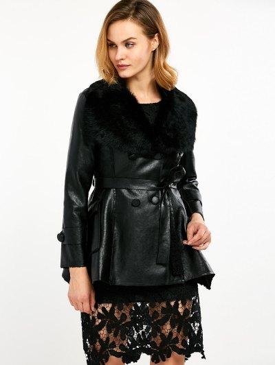 Faux Fur Collar Faux Leather Coat - BLACK M Mobile