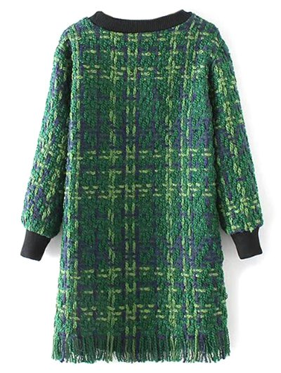 Heathered Fringed Sweater Dress - GREEN L Mobile