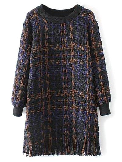 Heathered Fringed Sweater Dress - PURPLISH BLUE M Mobile