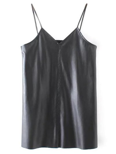 PU Leather Cami Mini Dress - BLACK M Mobile