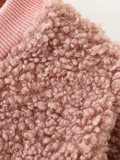 Sequined Long Sleeve Lamb Wool Dress - PINK ONE SIZE Mobile