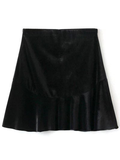 Flounced Velvet A-Line Skirt - BLACK M Mobile