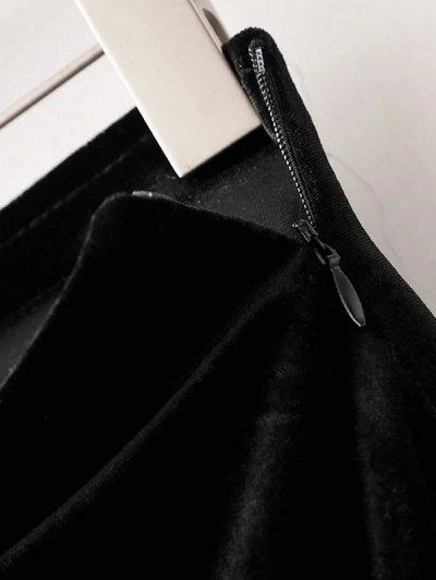 Flounced Velvet A-Line Skirt - BLACK S Mobile