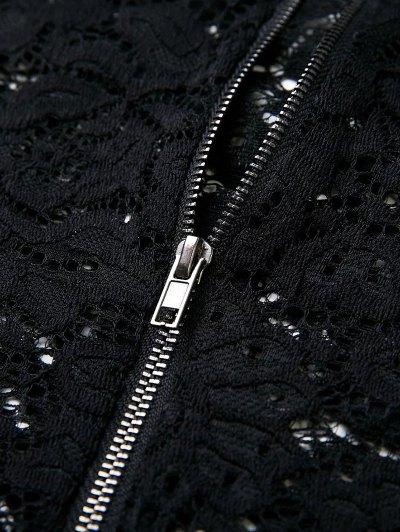 Flounced Off The Shoulder Lace Bodysuit - BLACK L Mobile