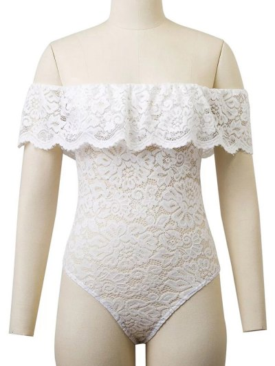 Flounced Off The Shoulder Lace Bodysuit - WHITE M Mobile