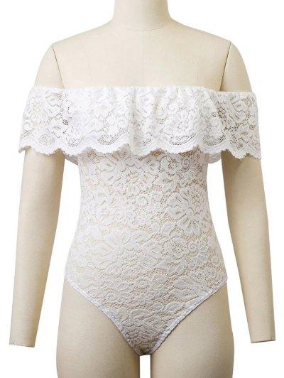 Flounced Off The Shoulder Lace Bodysuit - WHITE S Mobile