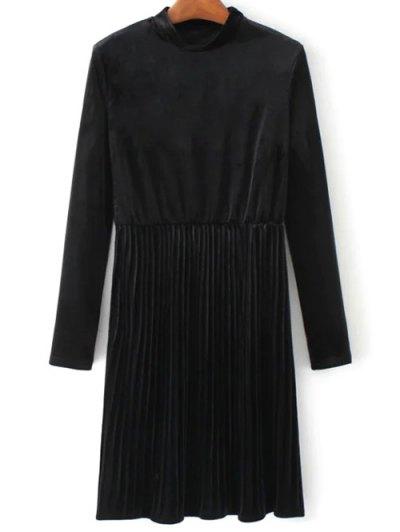 Long Sleeve Vintage Velvet Pleated Dress - BLACK S Mobile