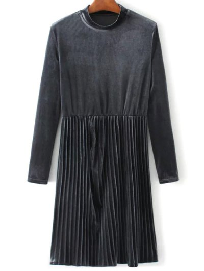 Long Sleeve Vintage Velvet Pleated Dress - GRAY M Mobile