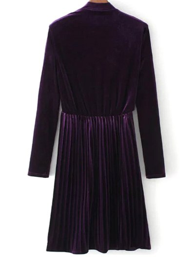 Long Sleeve Vintage Velvet Pleated Dress - PURPLE L Mobile