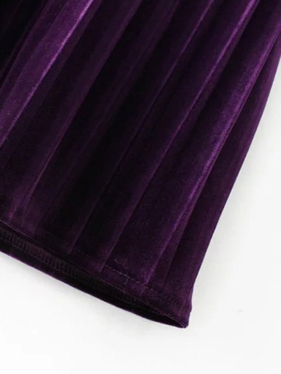 Long Sleeve Vintage Velvet Pleated Dress - PURPLE S Mobile