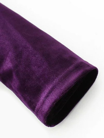 Long Sleeve Vintage Velvet Pleated Dress - BROWN M Mobile