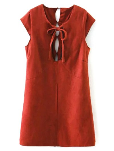 Faux Suede Cut Out Mini Dress - RED L Mobile