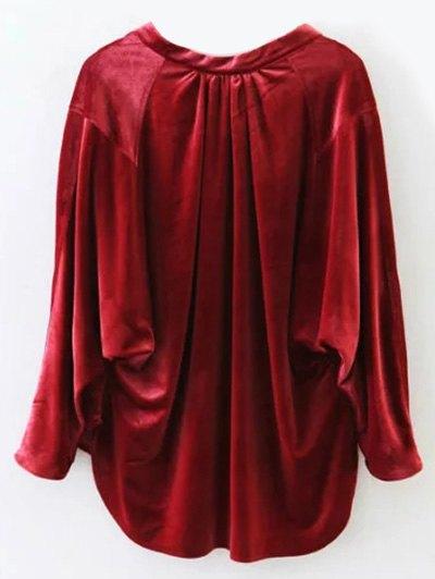 Oversized High-Low Velvet Blouse - WINE RED L Mobile