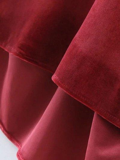 Oversized High-Low Velvet Blouse - WINE RED M Mobile
