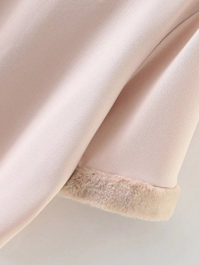 Half Sleeve Faux Fur Top - NUDE M Mobile