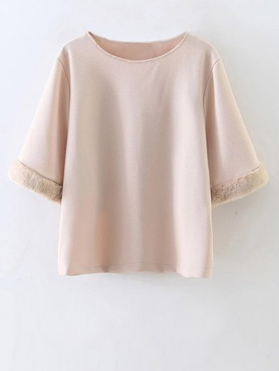 Half Sleeve Faux Fur Top - NUDE S Mobile