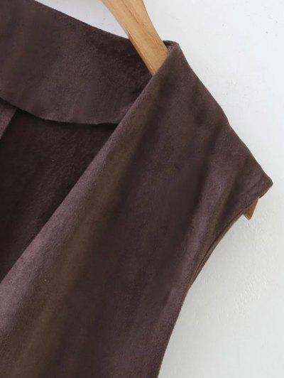 Longline Side Slit Suede Waistcoat - COFFEE M Mobile