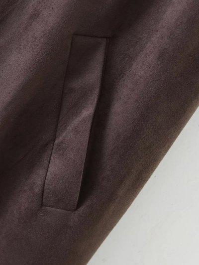 Longline Side Slit Suede Waistcoat - COFFEE S Mobile